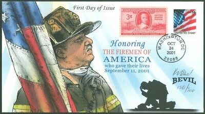 BEVIL Hand Painted FDC, HONORING THE FIREMEN of AMERICA on 9/11, #120/300 #3549!