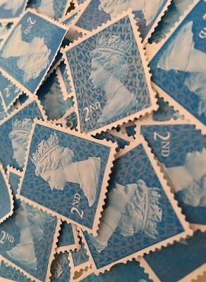 100 x Unfranked Stamps Blue 2nd Class Off Paper No Gum Postage Excellent Quality