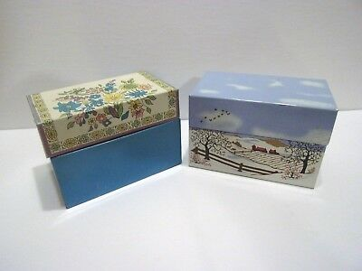 vintage syndicate mfg co metal green floral recipe box card holder