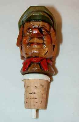 Liquor Bottle Stopper Pourer Colorful Wood Carving Cover Man in Cap Red Bandana