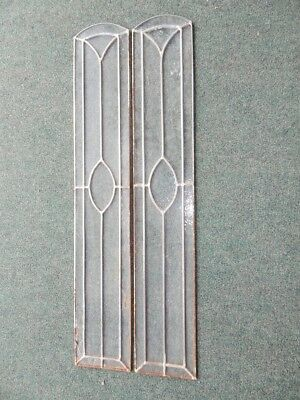 Vintage Pair Of Leaded Stained Clear Glass Panels