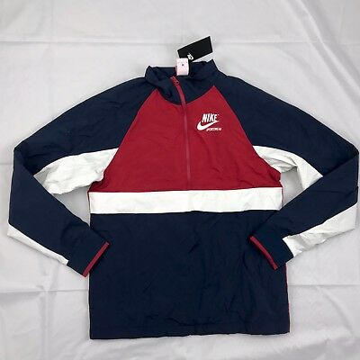 Nike Archive Half Zip Track Jacket Obsidian Navy Blue Red 921743-451 Men's Small