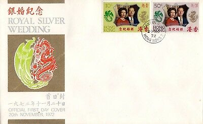 "Hong Kong, 1972, ""qeii Silver Wedding"" Stamp Set On Fdc Canton Road #2 Chop"