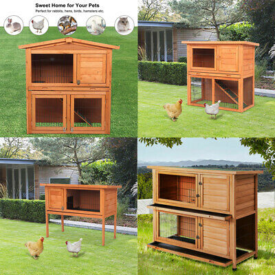 "Pet Cages 36"" 40"" 48"" Wooden Rabbit Hutch Chicken Coop Hen House Play Sleep"