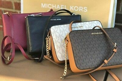 MICHAEL KORS JET SET PVC MK SIGNATURE LEATHER EW CROSSBODY BAG Various Colors