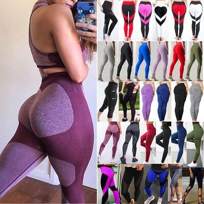 Women's Yoga Sports Pants Fitness Leggings Running Gym Exercise Puhs UP Trousers