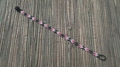 "Pink Purple  Huichol Bracelet - Micro-Beads 6.5"" long"