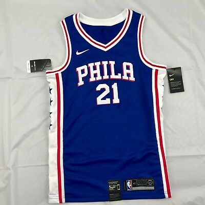 detailed look e5d38 0552e NIKE NBA PHILADELPHIA 76ers Joel Embiid Icon Swingman Jersey Blue Red Mens  Small