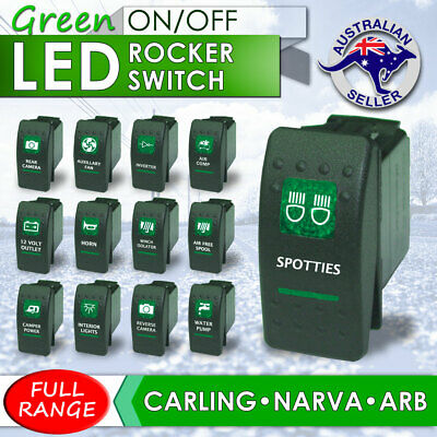 GREEN Rocker Switch ARB Carling Style dual backlit LED on-off