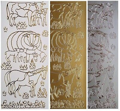 FARM ANIMALS Peel Off Stickers Cows Sheep Lambs Horse Foal Grass Gold or Silver