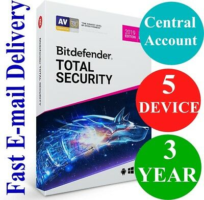 Bitdefender Total Security 5 Device / 3 Year + VPN (Account Subscription) 2019