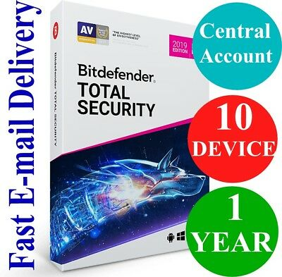 Bitdefender Total Security 10 Device / 1 Year + VPN (Account Subscription) 2019