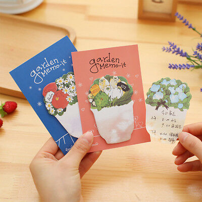 20 Pages Paper Sticky Notes Memo Pad Flower Stickers Office School Stationery