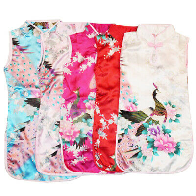 Toddler Baby Little Girl Dress Floral Chinese Qipao Sleeveless Kids Dress 2-8Y