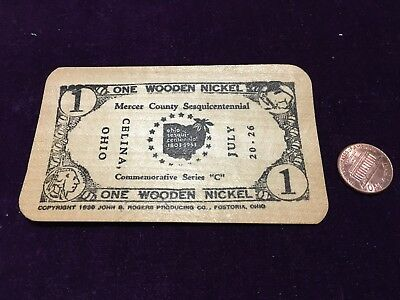 Wooden Nickel Mercer County Sesquicentennial Celina Ohio Wood Square Card
