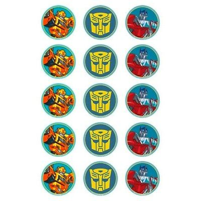 Transformers Bumblebee Optimus Prime 15 Edible Cupcake Icing Decoration Toppers