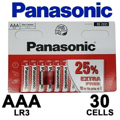 30 x AAA Genuine PANASONIC Zinc Carbon Batteries - New LR03 1.5V MN2400 05/2021