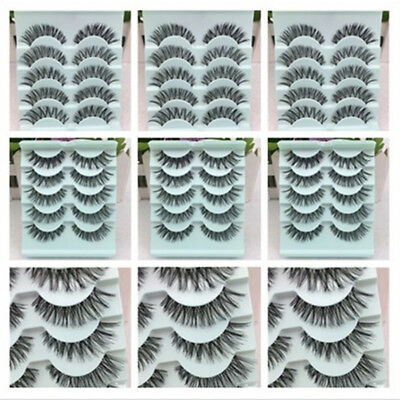 New 5Pair Natural Eye Lashes Makeup Cross Handmade Thick Fake False Eyelashes UK