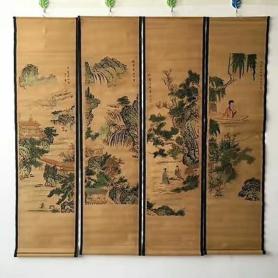 Collectible 4PC Old Decor China long Scroll Painting 4 seasons landscape figure