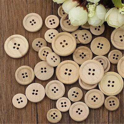 50 Pcs Round 4-Holes Mixed Wooden Buttons Natural Color Sewing Scrapbooking TR