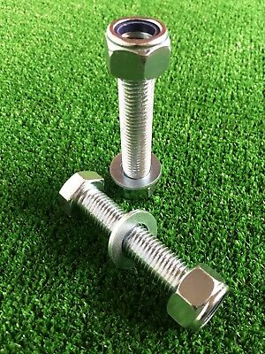 PAIR Tow Bar / Tow Ball Bolts 75mm Long C/w Nyloc Nuts & Washer 8.8 HIGH TENSILE