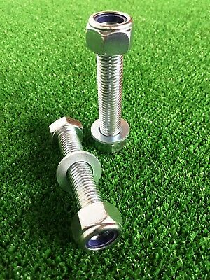 PAIR Tow Bar / Tow Ball Bolts 90mm Long C/w Nyloc Nuts & Washer 8.8 HIGH TENSILE
