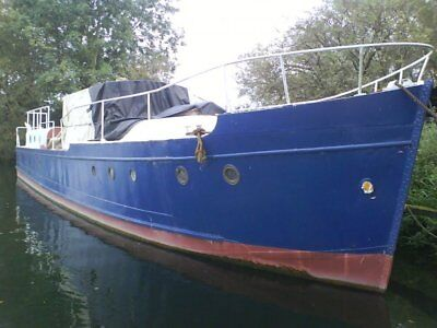 WW2 RAF Seaplane Refueling Launch 46ft steel houseboat project widebeam