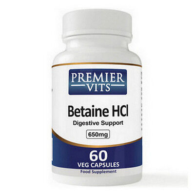 Betaine HCL, 650mg x 60 Veg Caps, PremierVits, 24Hr Dispatch, Made in UK