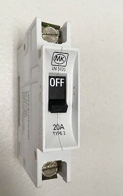 MK Sentry 20A Type 2 Single Pole Circuit Breaker SP 20 Amp MCB ~BS3871~  LN 5920