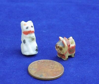Two Miniature Cats Vintage 1920s one bisque, one charm