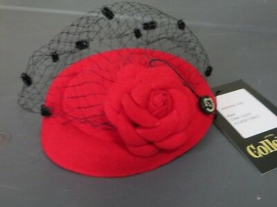 Collectif London Jemima Fascinator Hat in Red  New with Tag