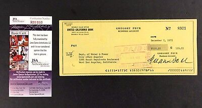 1972 Gregory Peck Celebrity Signed Personal Check Autographed JSA COA