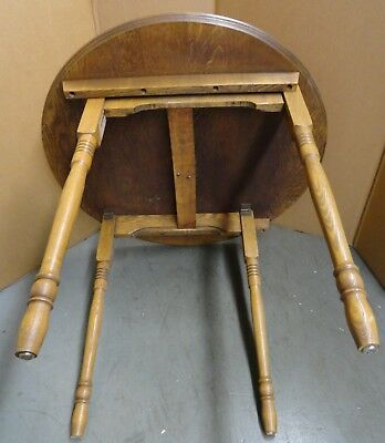 "ANTIQUE Vintage Small Round Folding OAK wood TABLE 30"" diameter COOL!!!!!"