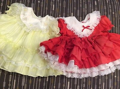 2 Vintage 3 Months Baby Or doll Dresses Very Full & Great Condition Beautiful!