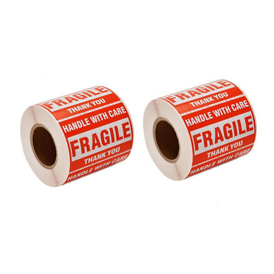 1000 2x3 FRAGILE HANDLE WITH CARE Stickers, Easy Peel and Apply 2 Rolls 500/PR