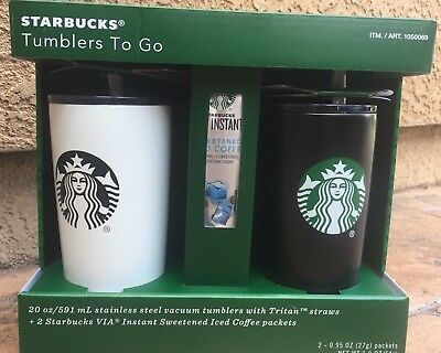 Starbucks Gift Set 2 Steel Vacuum 20 oz Tumblers with Tritan Straws