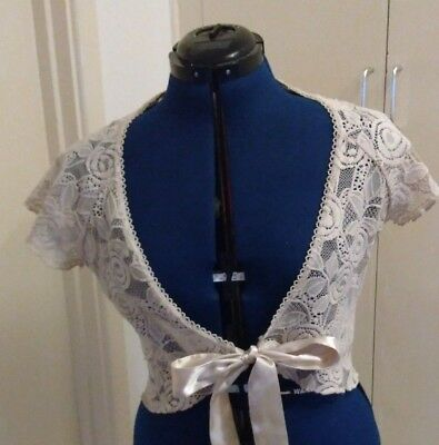 Cream lace shrug bridal steampunk size 14