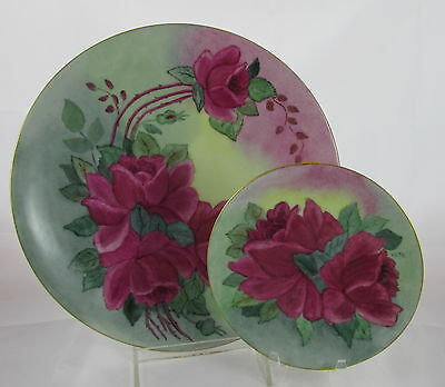 Old German Porcelain Hand Painted Artist Signed Roses Dinner&Small Plate Set #2