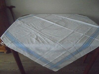 White Tablecloth With Pale Ble Border  Size 50 Inch X46 Inch