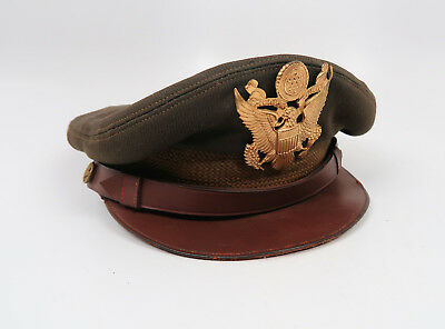 WW2 US Army Air Corp force officer uniform visor cap hat WWI military crusher NR