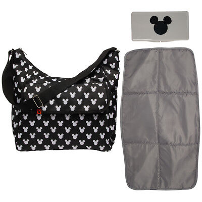 Disney Baby Mickey Mouse Diaper Bag + Changing Pad Travel Portable Infant Tote