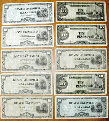 Japanese Philippines  10 TEN Pesos Banknotes Currency  Money World War II
