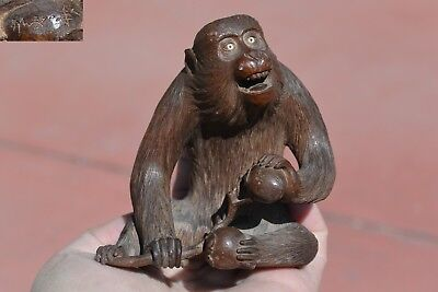 1930's Japanese Wood Carved Carving Monkey Inlay Eyes Persimmon Okimono Sg AS IS