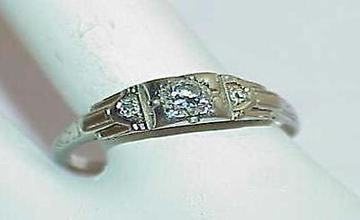 14k Art Deco .20ct 3 Diamond Engagement Solitaire Ring White Gold Ornate Sz 8.5