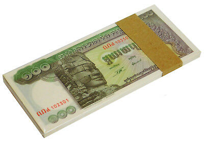 CAMBODIA 100 RIELS ND (1957-75) P 8 UNC BUNDLE of (100 NOTES) LARGE NOTES --