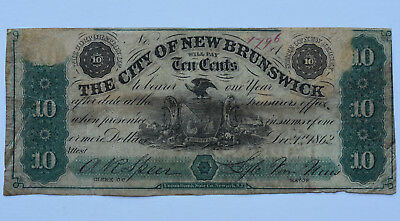 1862 10C City Of New Brunswick New Jersey NJ Fractional Note Obsolete Currency