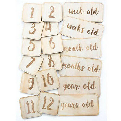 Infant Baby First Year Monthly Wooden Card Newborns Photo Props S
