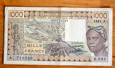 1000 Francs, Bank of West African States--Ivory Coast-- 1981.