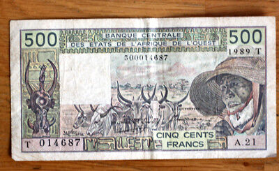 500 Francs, Bank of West African States--Togo--,1989.