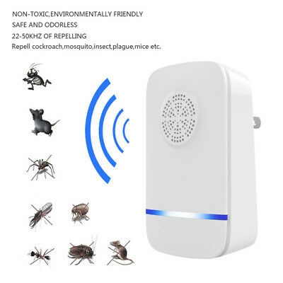 Ultrasonic Pest Repeller Control Bed Bugs Fleas Spiders Ants Rats Mice Rodents